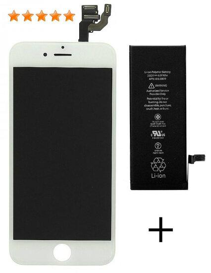 Afbeelding van Accu + LCD wit iPhone 6 origineel set